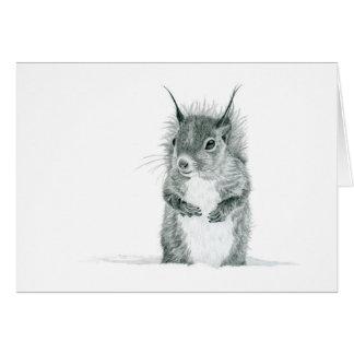 Écureuil dans la carte de voeux de dessin de neige
