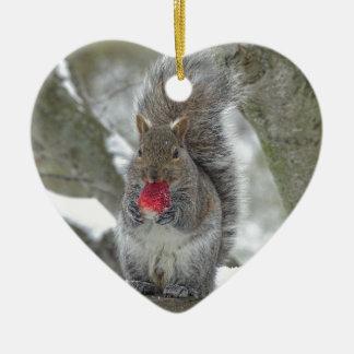 Écureuil de fraise ornement cœur en céramique