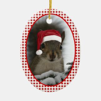 Écureuil de Père Noël DATÉ Ornement Ovale En Céramique