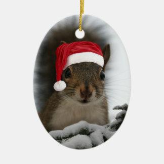 Écureuil de Père Noël Ornement Ovale En Céramique