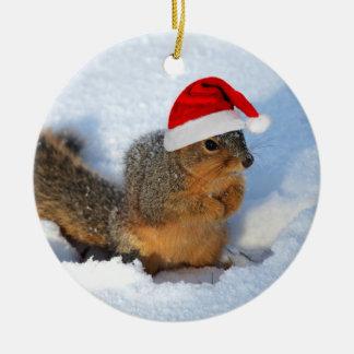 Écureuil de vacances ornement rond en céramique