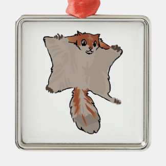Écureuil de vol ornement carré argenté