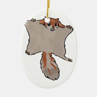 Écureuil de vol ornement ovale en céramique