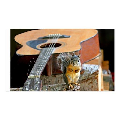 Écureuil et guitare modèle de carte de visite