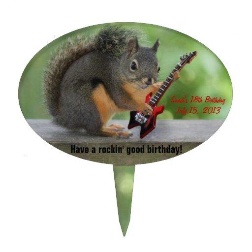 Écureuil jouant la guitare électrique piques à gâteaux