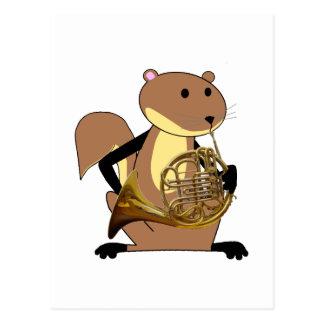 Écureuil jouant le cor de harmonie carte postale