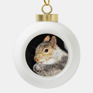 Écureuil mangeant un écrou boule en céramique