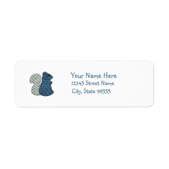 Écureuil mignon de bleu de style campagnard étiquette d'adresse retour