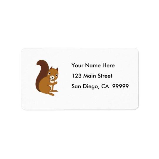 Écureuil mignon ondulant à vous étiquette d'adresse