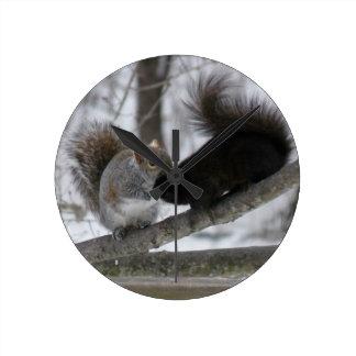 Écureuil noir horloge ronde