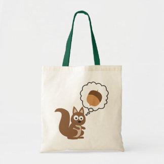 Écureuil pensant à l'écrou sac de toile
