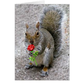 Écureuil tenant une carte de Valentine de rose rou