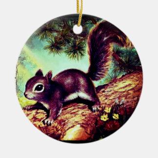 Écureuil vintage ornement rond en céramique