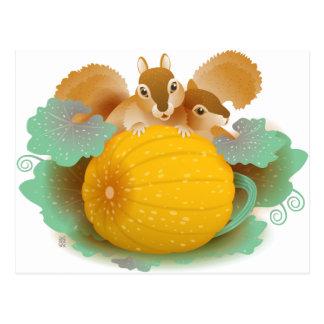 écureuils dans la correction de citrouille carte postale