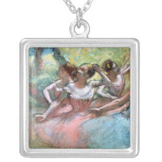Edgar Degas   quatre ballerines sur l'étape Pendentif Carré