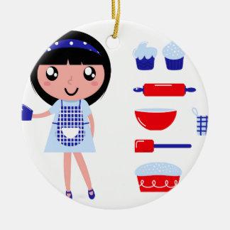 Édition artistique avec la fille tirée par la main ornement rond en céramique
