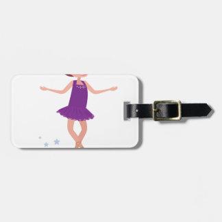 Édition artistique de pourpre de fille de patinage étiquette pour bagages