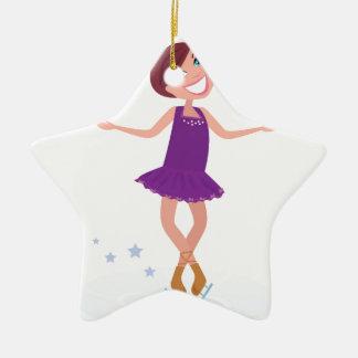 Édition artistique de pourpre de fille de patinage ornement étoile en céramique