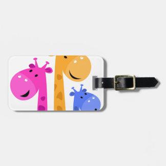 Édition colorée extraordinaire de girafe étiquettes bagages