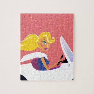 Édition de concepteurs avec la fille blonde de puzzle