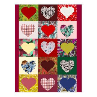 Édredon de coeurs d'amour cartes postales