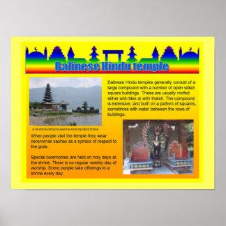 Éducation, religion, temple hindou de Balinese Affiche