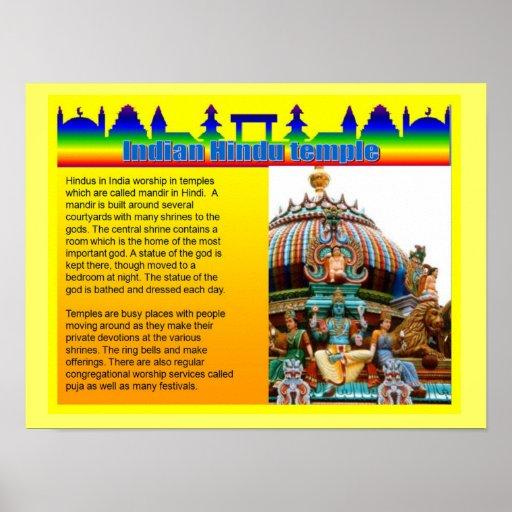 Éducation, religion, temple hindou indien posters