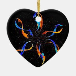 Efenissium - dauphins de l'espace ornement cœur en céramique