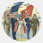 Effectifs patriotes et militaires vintages autocollants ronds
