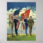 Effectifs patriotes et militaires vintages affiches