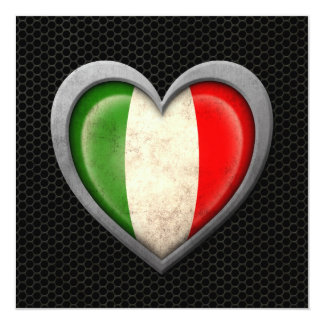 Effet en acier de maille de drapeau italien de carton d'invitation  13,33 cm