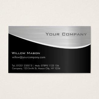 Effet en acier noir, carte de visite professionnel