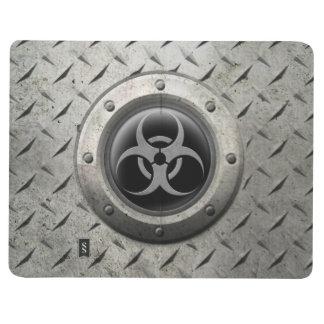 Effet industriel gris et noir d'acier de Biohazard Carnet De Poche