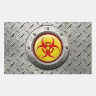 Effet industriel jaune et rouge d'acier de sticker rectangulaire