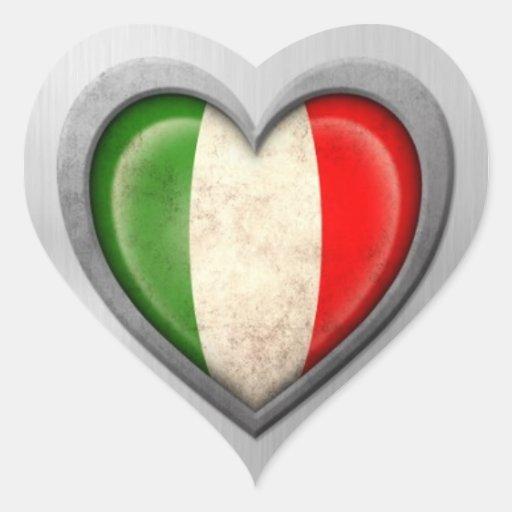 Effet italien d'acier inoxydable de drapeau de autocollants en cœur