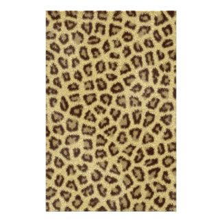 Effet pelucheux de fourrure de peau de léopard de  papier à lettre customisable