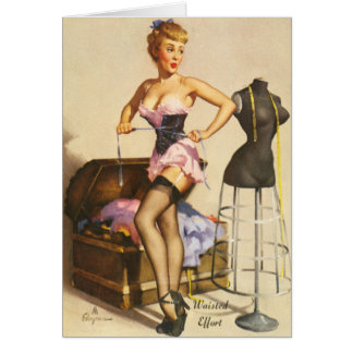 Effort de Waisted, pin-up vintage Cartes De Vœux