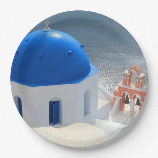 Église de Santorini pendant l'après-midi Sun Assiettes En Papier