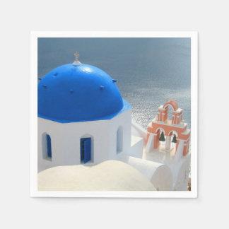Église de Santorini pendant l'après-midi Sun Serviette En Papier