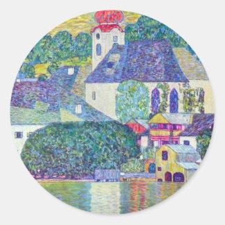 Église de St Wolfgang par Gustav Klimt, art Sticker Rond