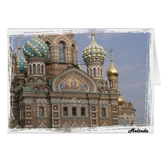 Église du sang renversé St Petersburg, Russie Carte De Vœux
