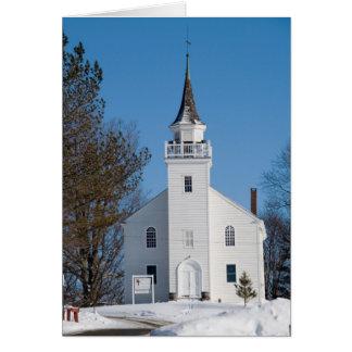 Église en hiver carte de vœux
