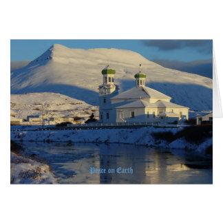 Église orthodoxe russe sur l'île d'Unalaska Carte De Vœux