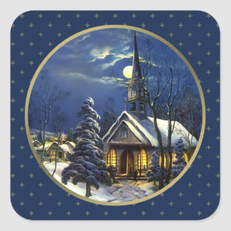 Église vintage de Noël. Autocollants de cadeau de