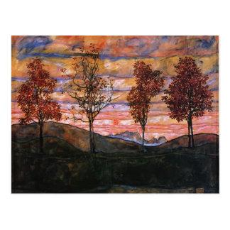 Egon Schiele- quatre arbres Carte Postale