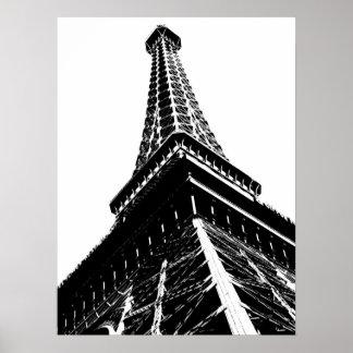 Eiffel sur le blanc affiches