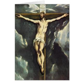 El Greco le Christ sur la carte de voeux croisée