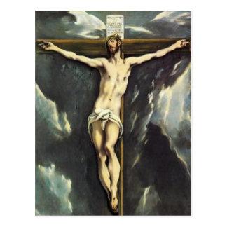 El Greco le Christ sur la carte postale croisée
