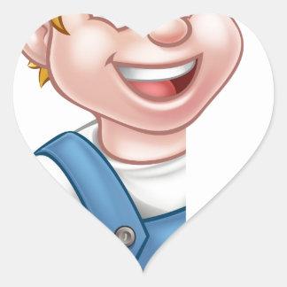 Électricien ou bricoleur tenant le tournevis sticker cœur