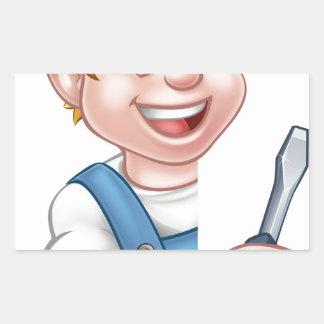 Électricien ou bricoleur tenant le tournevis sticker rectangulaire